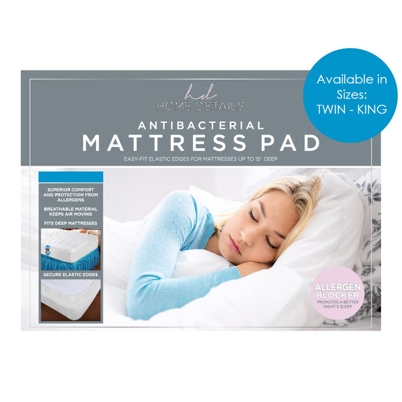 Home Details Antibacterial Easy-Fit Mattress Pad, Fits 15 Inches Deep, White