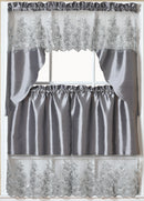Paula 3-PC Organza Embroidered Kitchen Curtain Set, Silver, Tier 30x36, Valance 60x36 Inches