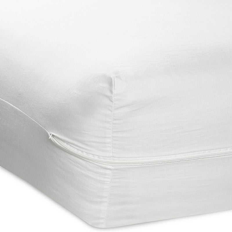 Better Home Zippered Fabric Mattress Cover - White