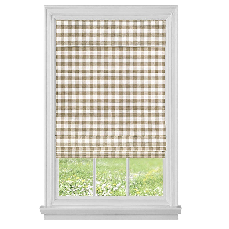 Achim Buffalo Check Cordless Fabric Roman Shade, Taupe