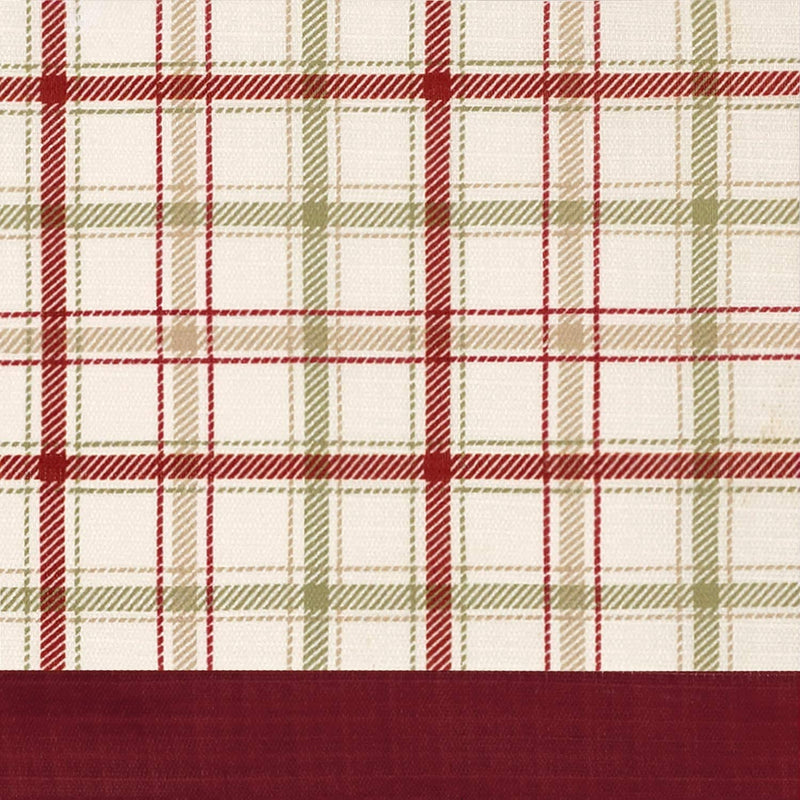 Tattersall Farmhouse Tab-Top Plaid Panel, Burgundy-Beige, 52x84 Inches
