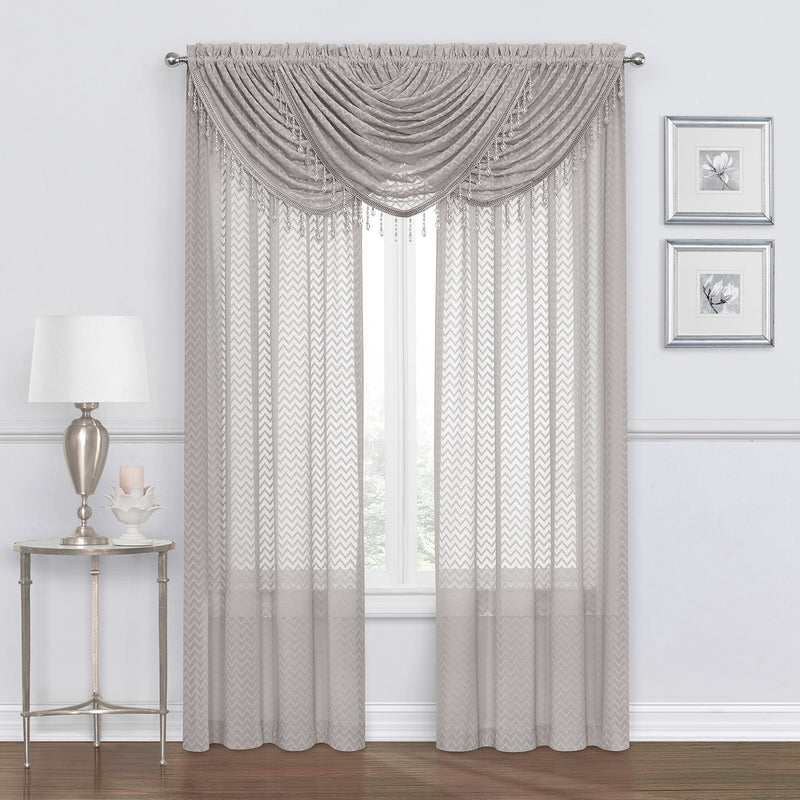 Chevron Zig-Zag Sheer Rod Pocket Window Panel and Valance Treatments, Grey