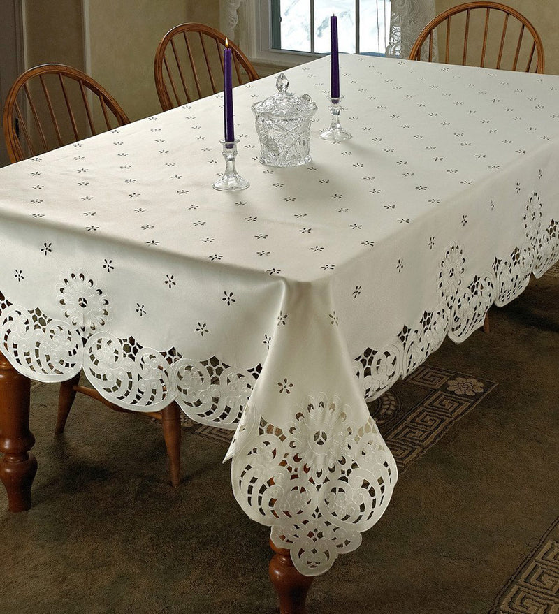 Daisy Flower Embroidered Cutwork Tablecloth, Ivory