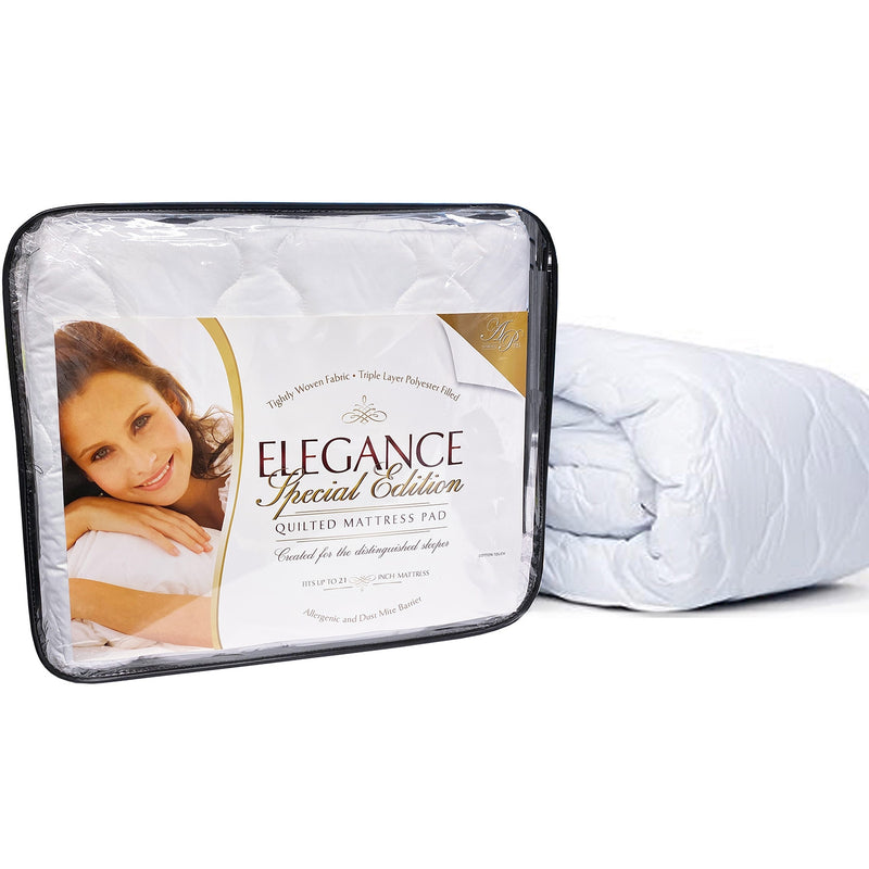 Elegance Triple Layer Quilted Mattress Pad, Fits 21 Inches