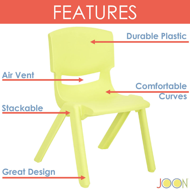 JOON Stackable Plastic Kids Learning Chairs, Lime, 20.5x12.75X11 Inches, 2-Pack (Pack of 2)