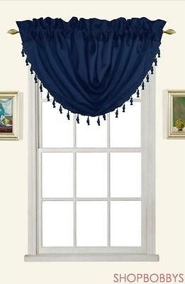 Melanie Faux Silk Rod Pocket Waterfall Valance With Tassels, Navy, 58x37