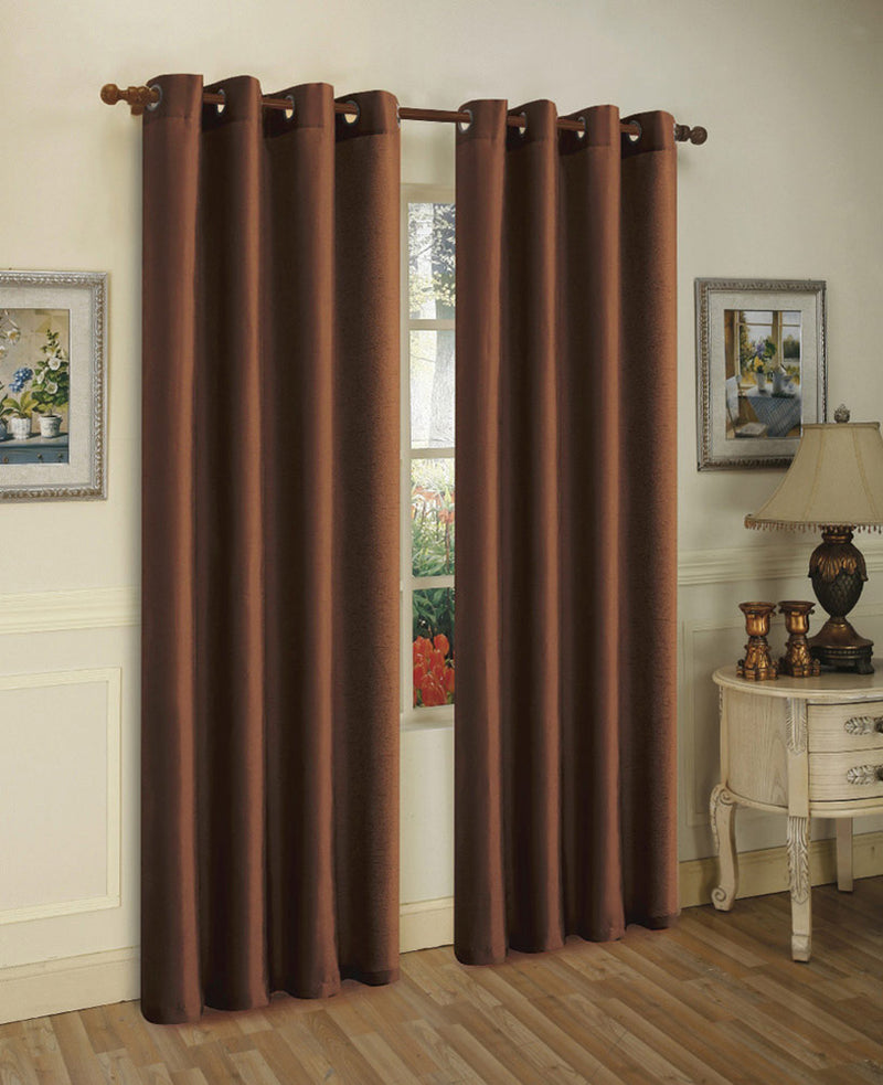 Melanie Faux Silk Panel With 8 Grommets, Chocolate, 55x63