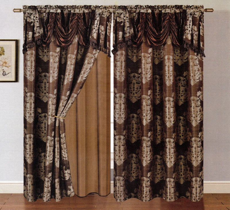 Clinton Jacquard Panel With Attached Valance & Backing Chocolate - 54x84+18