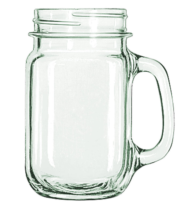 Libbey Drinking Mason Jar With Handle, Clear, 16-ounces, 6-pack