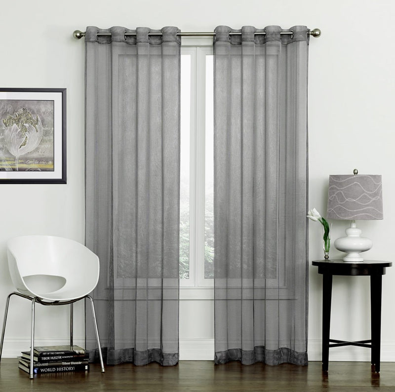Auburn Metallic Sheer Mesh Panel With 8 Grommets, Gray, 54x84