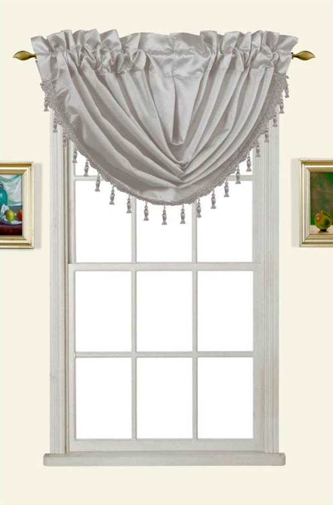 Melanie Faux Silk Rod Pocket Waterfall Valance With Tassels, Silver, 58x37