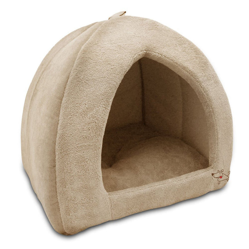 Best Pet Tent Bed For Dogs And Cats, Coral Fleece Tan, Large 18x18x16 Inches