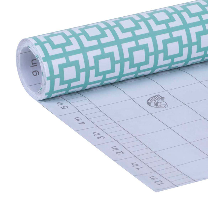 Duck Deco Adhesive Laminate Shelf Liner, Mint Green Lattice, 20 Inches x 12 Feet