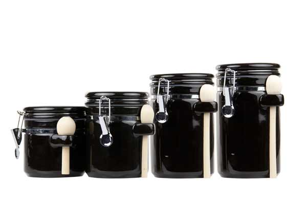 Home Basics 4-piece Ceramic Canister Set With Spoons, Black
