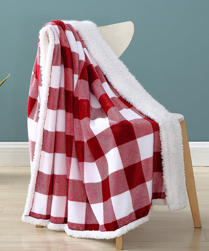 Buffalo Check Flannel-Sherpa Throw Blanket, Burgundy, 50x60 Inches