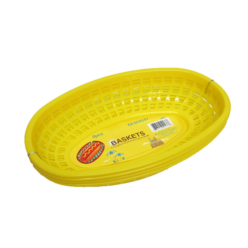 Food Basket For Hamburgers, Hot Dogs, French Fries, Yellow, 9.25x5.75x2 Inches, 4-pack