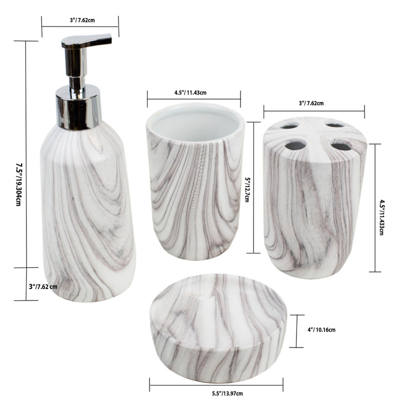 Home Basics Marble Ceramic 4 Piece Bath Accessory Set, White
