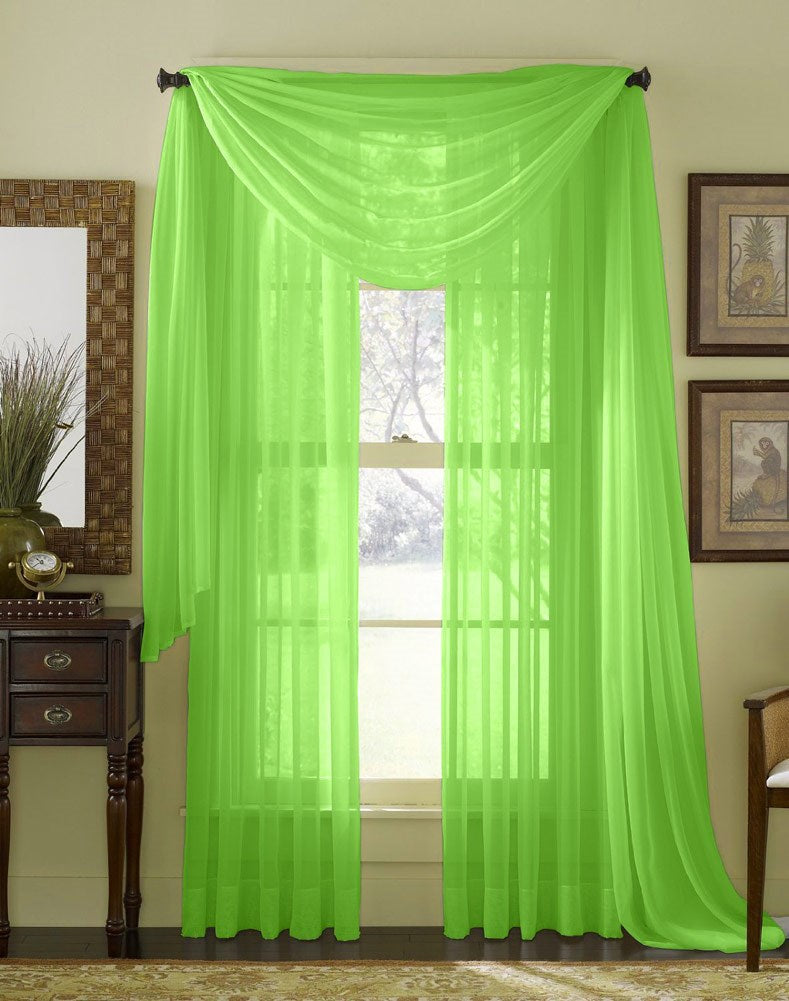 Linda Voile Sheer Solid Window Scarf, Lime Green, 55x216