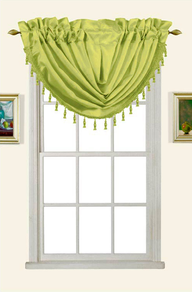 Melanie Faux Silk Rod Pocket Waterfall Valance With Tassels, Lime Green, 58x37