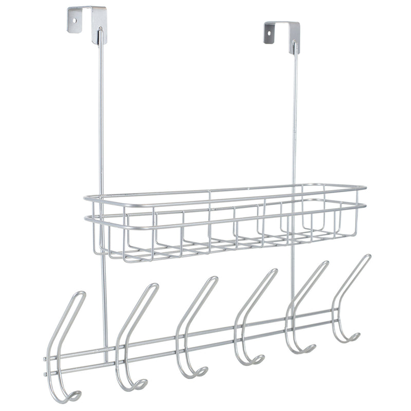 Home Basics Over-The-Door 6-Hook Hanging Rack With Basket, Silver, 18x16x5.75 Inches