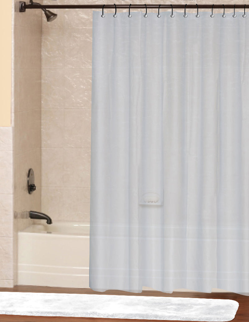 Vinyl Shower Curtain Liner with Grommets and Magnets, Frosted, 70x72 Inches