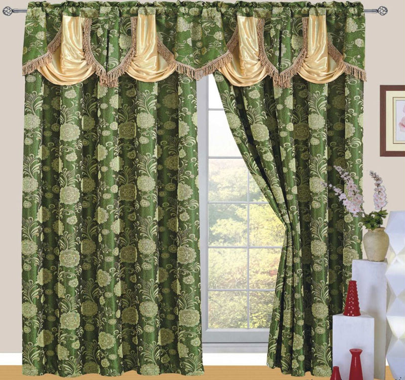 Daniella Jacquard Rod Pocket Panel with Attached Valance and Backing, Green, 55x84+18