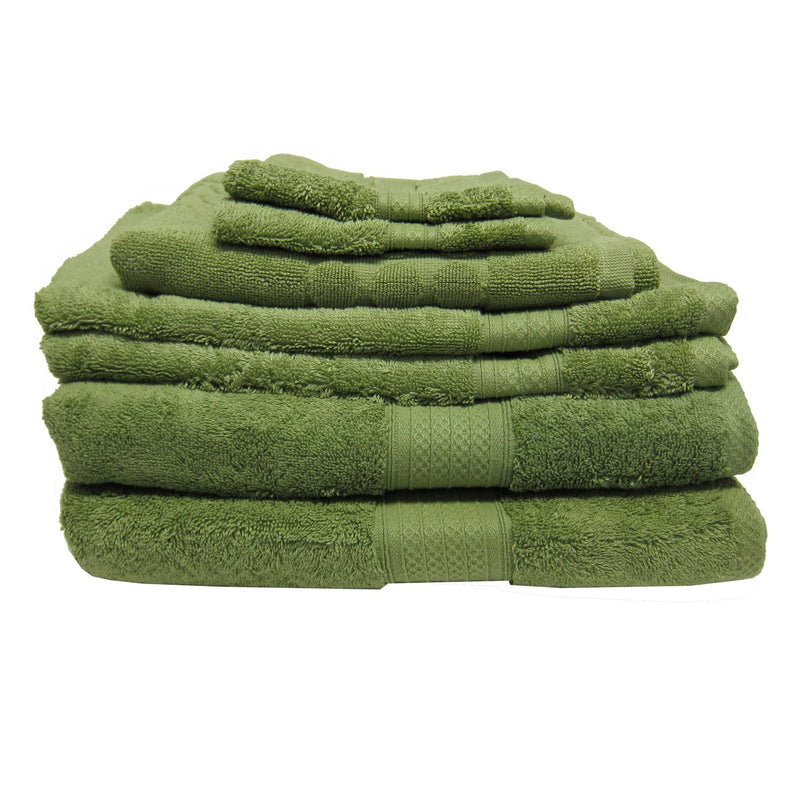 Luxury Living 100% Cotton 7-piece Towel Set, Lime Green