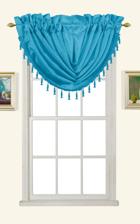 Melanie Faux Silk Rod Pocket Waterfall Valance With Tassels, Turquoise, 58x37
