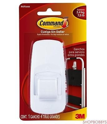 Command 3m Jumbo Plastic Hook With Adhesive Strips, White