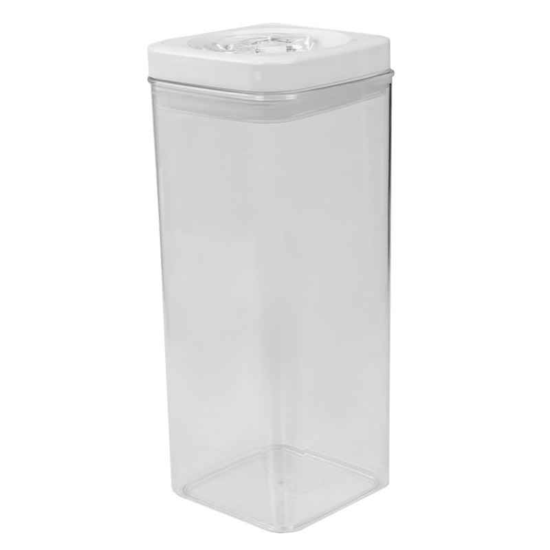 Home Basics Twist N' Lock Square Food Storage Canister, Clear, 3.1 Liters