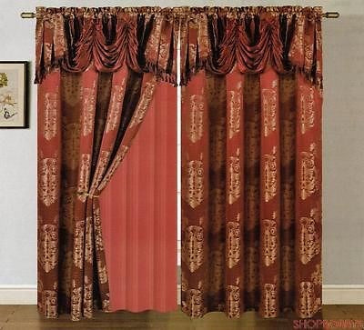 Clinton Jacquard Panel With Attached Valance & Backing Burgundy - 54x84+18