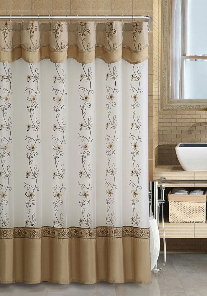 Daphne Embroidered Shower Curtain With Attached Valance & Backing, Beige, 72x72