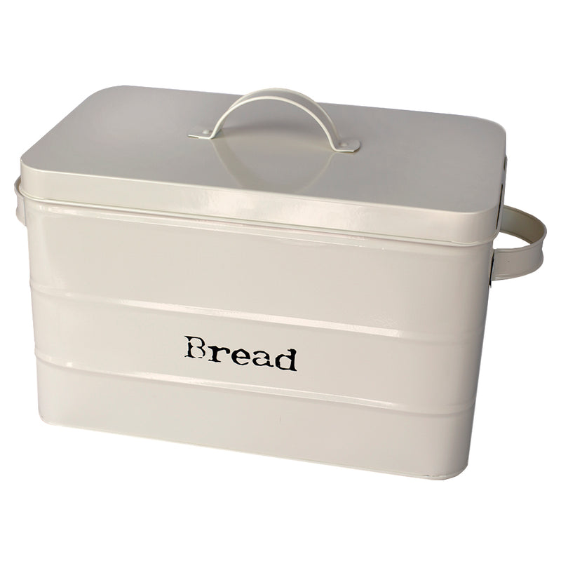 Home Basics Vintage Tin Bread Box, Ribbed Pattern, Ivory, 12.5x7.75X8 Inches