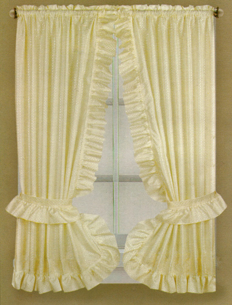 Fabric Dobbie Window Curtain Set Beige - 36x54