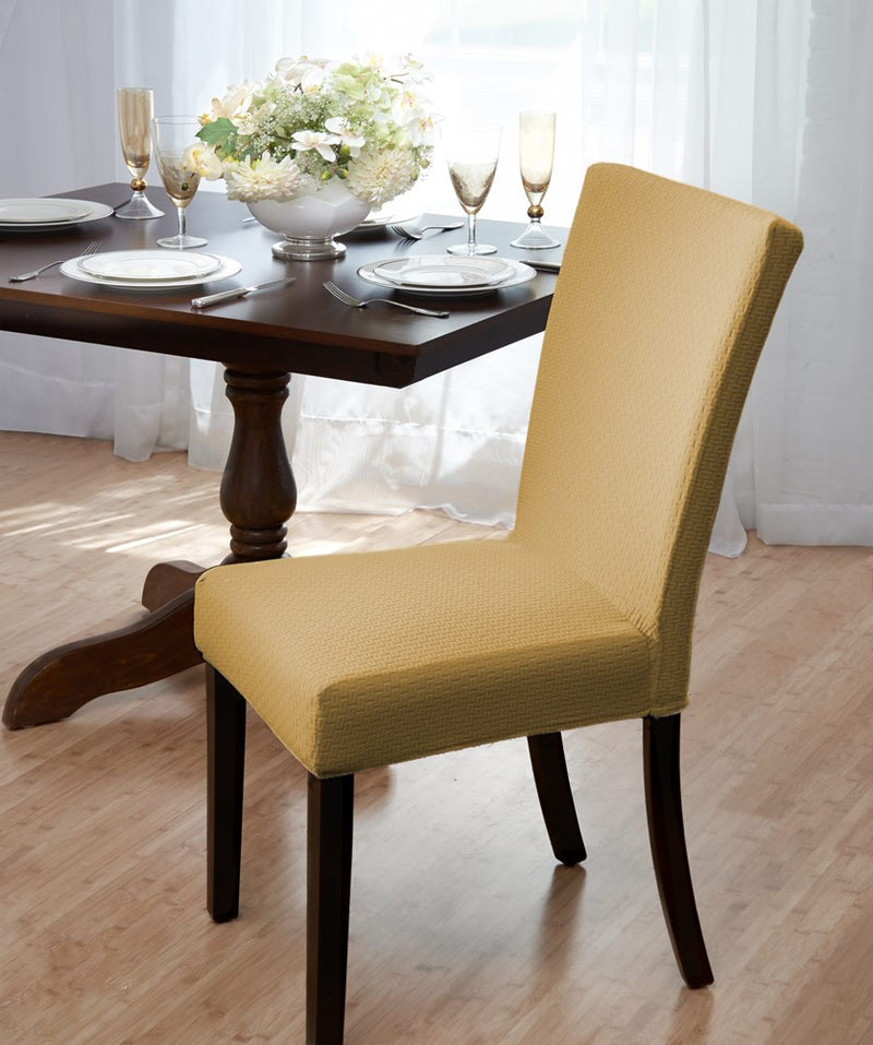 Madison Stretch Bricks Design Dining Room Chair Cover, Beige