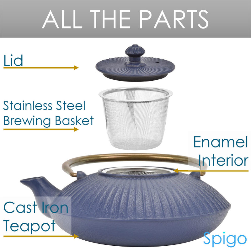 Spigo Nara Cast Iron Enamel Teapot With Stainless Infuser, Blue-Brass, 46 Ounces