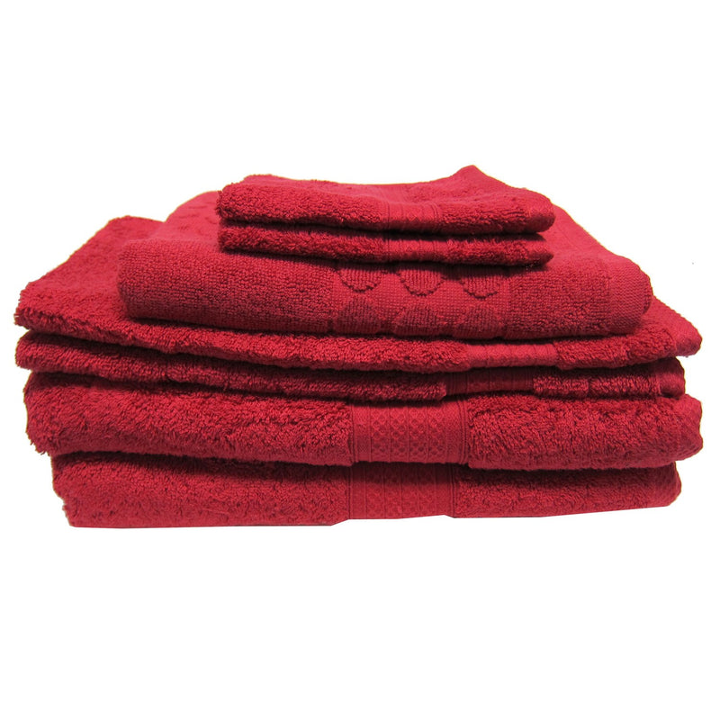 Luxury Living 100% Cotton 7-piece Towel Set, Red