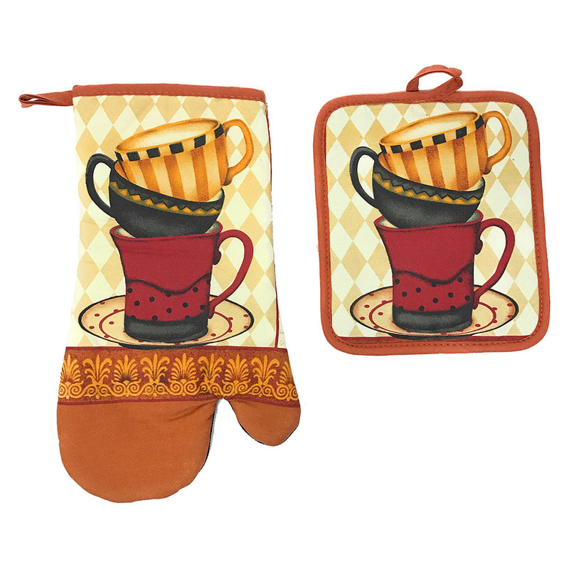 Kitchen Collection Cafe Cup Neoprene Oven Mitt And Potholder Set, Burnt Orange