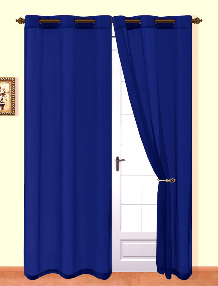 Kim Sheer Voile 8 Grommets Window Panel, Navy Blue, 54x84 Inches