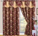 Daniella Jacquard Rod Pocket Panel With Attached Valance And Backing, Burgundy, 55x84+18