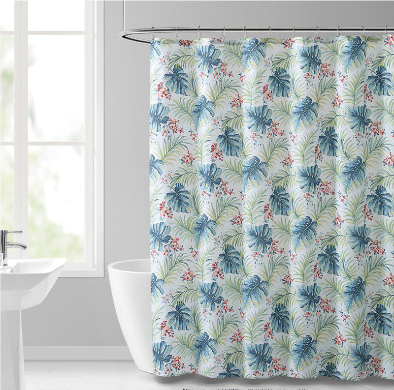 Key West 13-Piece Shower Curtain Set with Hooks, Blue-Green, 72x72 Inches