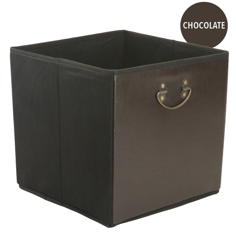 Simplify Retro Faux Leather Collapsible Storage Cube, Chocolate, 12.8x12.8x12.8 Inches