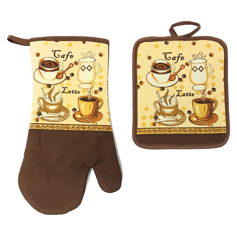 Kitchen Collection Latte Neoprene Oven Mitt And Potholder Set, Chocolate