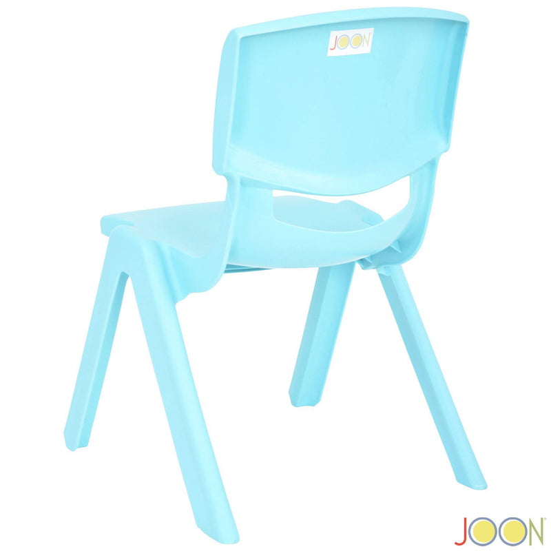 JOON Stackable Plastic Kids Learning Chairs, Baby Blue, 20.5x12.75X11 Inches, 2-Pack