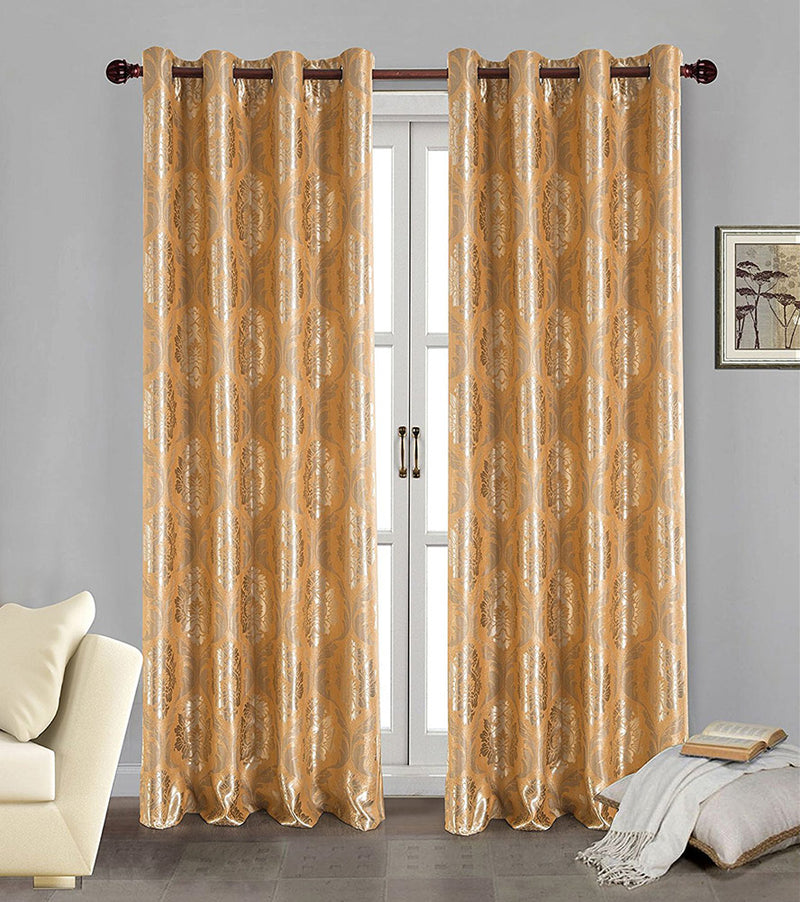 Marabella Jacquard 8 Grommet Room-Darkening Panel, Gold, 54x84 Inches