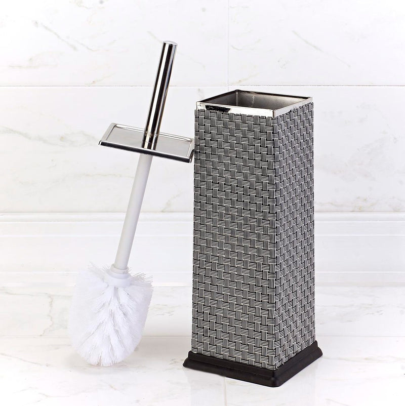 Bath Bliss Stainless Steel Toilet Brush And Holder, Textured Weave, Chrome Finish, 4.25sqx14.75
