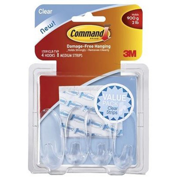 Command 3m Medium Designer Hanging Hook Clear - 4 Pack