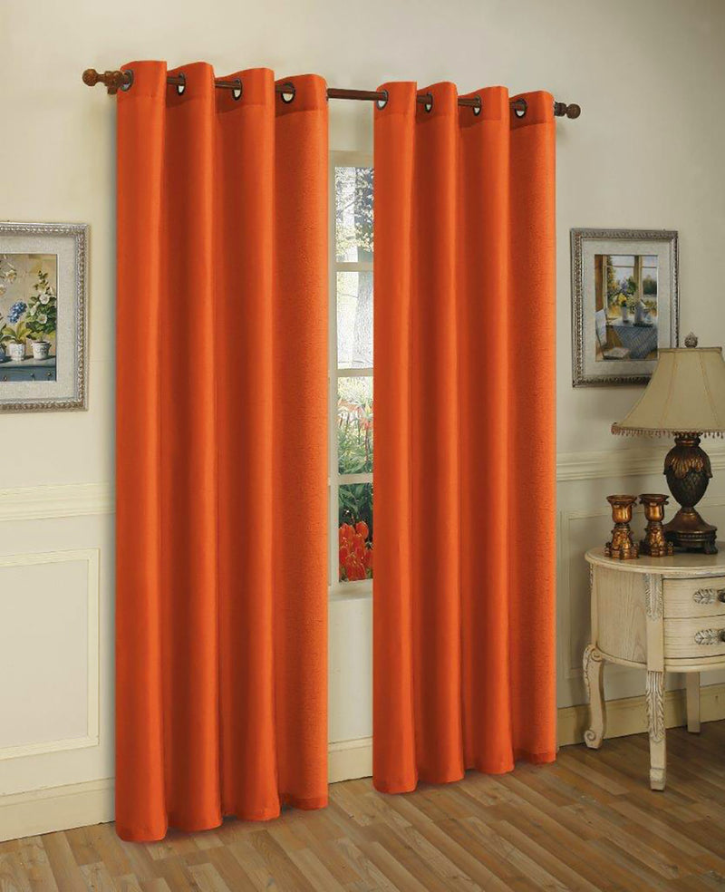 Mira Faux Silk Panel With 8 Grommets, Brick Orange, 58x84 Inches