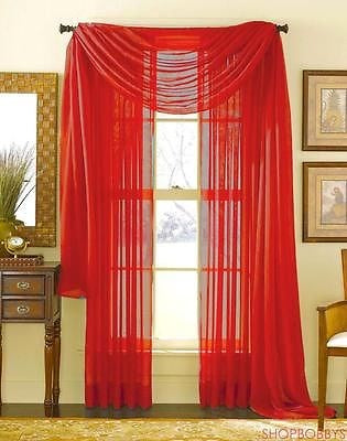 Linda Voile Sheer Solid Window Scarf, Red, 55x216