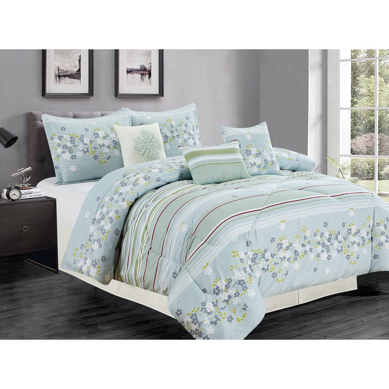 Premius Ivy 7 Piece Oversized Comforter Set, Light Blue